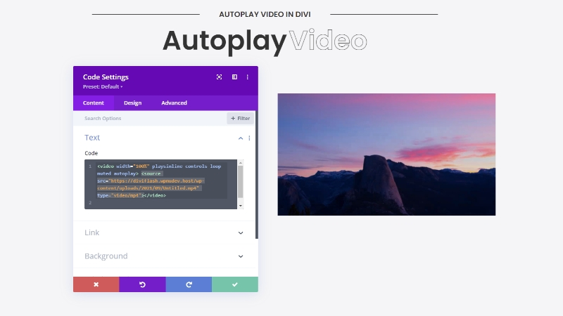 Autoplay Absolute Path Video in Divi 2